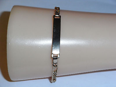 9Ct Gold Figaro Curb Link Id Identity Bracelet Ladies