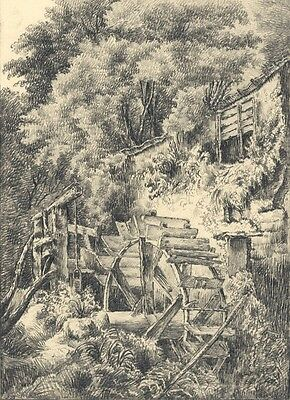 Water Wheel - Original early 19th-century graphite drawing