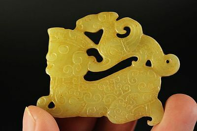 Chinese natural old jade carved dragon&people pendant A10