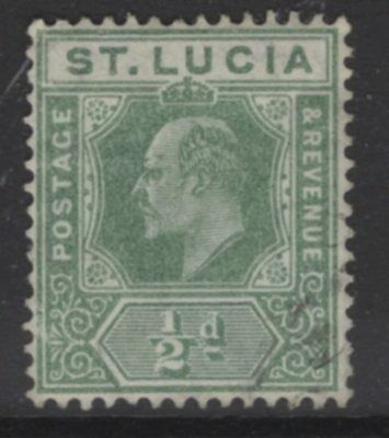 ST.LUCIA SG65 1907 ½d GREEN USED