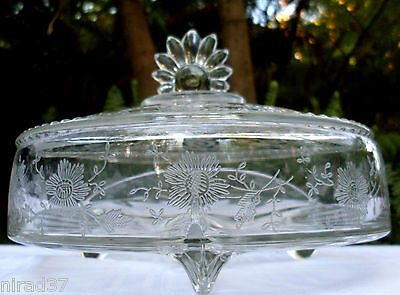 RARE Vintage NEW MARTINSVILLE USA Viking Glass PRELUDE Candy Dish + Lid In Aust