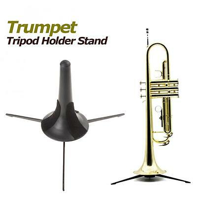 Black Trumpet Stand Tripod Rack Holder with Detachable and Foldable Metal Legs