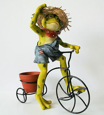 FROG BICYCLE PLANTER  patio lawn decor garden outdoor yard