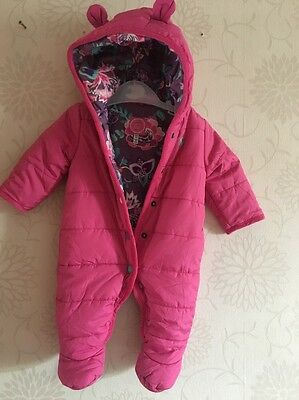Joules Pink Floral Lined Hooded Snowsuit All In One 0-3 Months