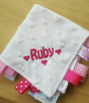 Personalised Embroidered taggy blanket comforter baby gift