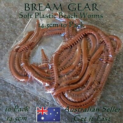 10 Soft Plastic Fishing Lures Beach Worms Tube Worms Grub Bream Whiting 14.5cm