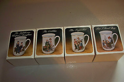 Norman Rockwell Complete Collector Set Of 4 Cups 1981