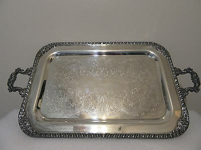 1883 B. Rogers  Antique/ Vintage Silver on Copper  Serving Tray #8019.