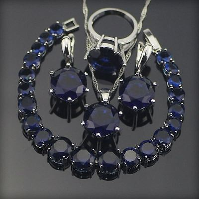 Blue Cubic Zirconia 925 Sterling Silver Jewelry Set - Fine Fashion NEW Style