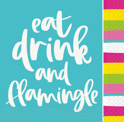 16 LUNCHEON Lunch Napkins Flamingo Hawaiian Luau Beach Pool Party Serviettes NEW