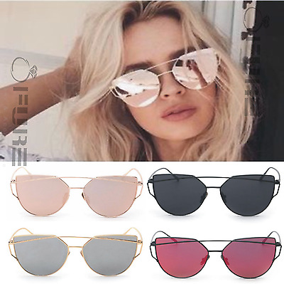 Rose Gold Women Mirrored Lenses Designer Retro Vintage Oversized Sunglasses