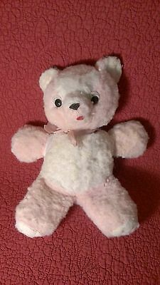 "Vintage 11"" PINK WHITE TEDDY BEAR plush stuffed"