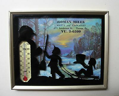 Vintage Silhouette Advertising Calendar With Thermometer