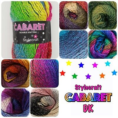 Stylecraft Cabaret DK Sparkle Variegated Multicolour Double Knit Wool Yarn 100g