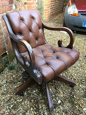 Chesterfield style brown leather desk chair vintage antique style