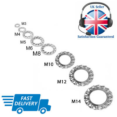 M3 M4 M5 M6 M8 M10 M12 M14 A2 Stainless Washers External Tooth Lock Shakeproof