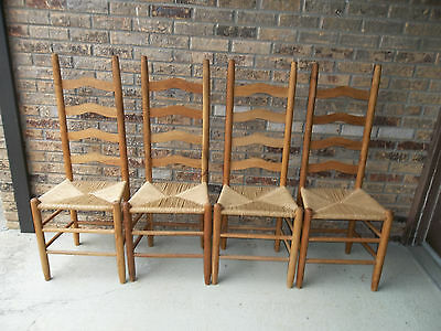 Set Of 4 Vintage Ladder Back Chairs With Rush Seats
