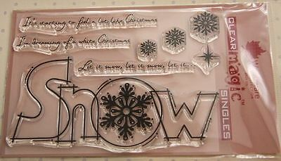 NEW Woodware 'Huge Snow' Christmas Clear Stamp FRS248