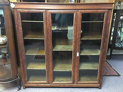 Library Bookcase Tiger Oak Three Glass Doors