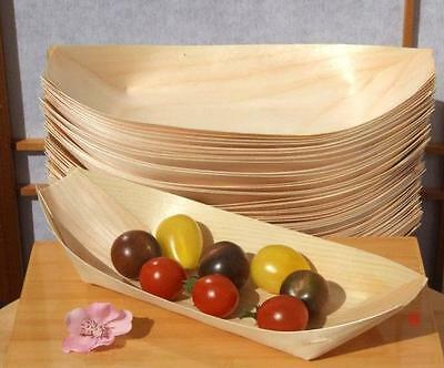 Large Bamboo Wood Boats x 50 for party foods (225X125mm)