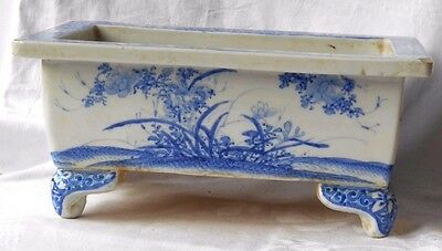 Early C19Th Chinese Blue And White Oblong Planter Decorated With Flowers