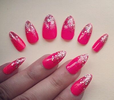 Hand Painted False Nails Stiletto (Or ALL SHAPES) Bright Pink Glitter Unicorn UK
