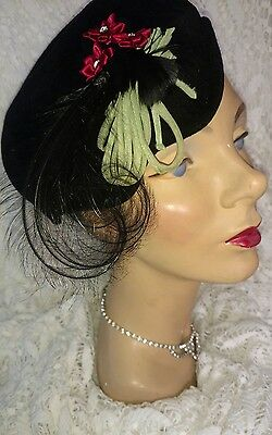 Fab in Black Fancy Feathered Vintage Ladies Hat  w/ Red Satin Flowers & Bling