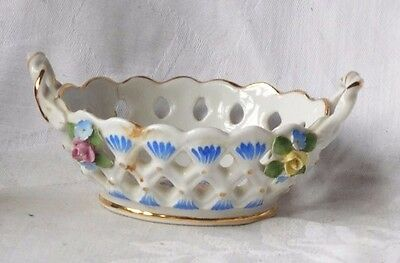 Small C20Th Dresden Twin Handled Basket With Applied Flowers