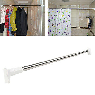 Telescopic Shower Curtain Rod Adjustable Easy Install Drapery Rail Straight Pole