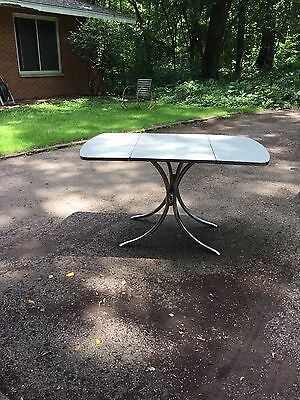 Vintage Mid Century Drop Leaf Formica Kitchen Table Grey Cracked Ice Gray
