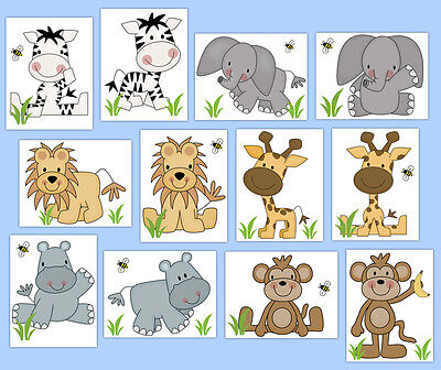 Safari Baby Nursery Decal Jungle Animals Wall Art Mural Kid Room Stickers Decor