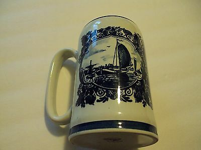 Antique Beer  Mug. Blauw Delfts Hand Painted. Made In Holland