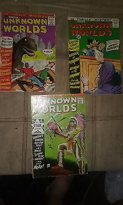 Unknown World lot of 3 Silver Age Horror Comics  (1961-1967)