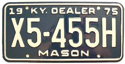 Unused NOS Vintage Kentucky 1975 Dealer License Plate, Maysville KY Mason County
