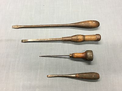 Lot of 4 ~ Antique 3 Flat Head Screwdrivers Wood Handle 1 Spike IRWIN PLUMB PER