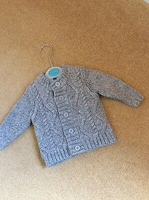 John Lewis Grey Cable Knitted Padded Cardigan, 3-6 months