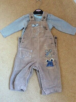 NEXT Baby Boy Dungarees and top set, 6-9 months