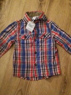 Boys Checked Long Sleeved Shirt 6-9 months