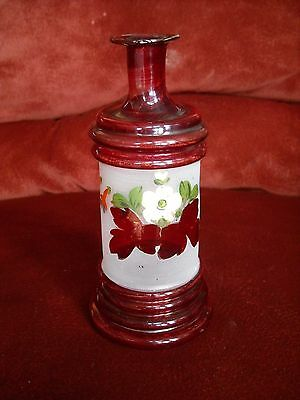 """Antique Blown Glass Barber Cologne Bottle, Ruby Overlay, Flash  8"""""""