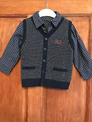 Boys 2 piece shirt and knitted sleeveless cardigan size 12-18 months