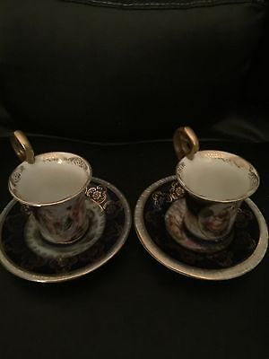 Two Antique Dresden Coffee Can's / Cups And 2 Saucers