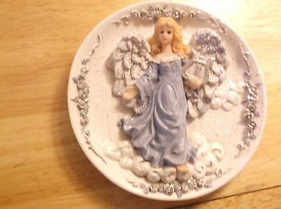 (4) christmas angel plates hand crafted stand included