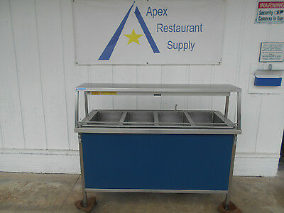 Atlas Electric 4 Well Steam Table with heat lamp & sneeze guard # 2371