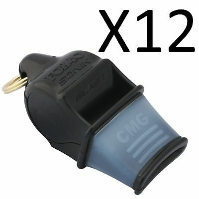 FOX 40 Sonik Blast CMG Whistle Referee Coach Outdoor Enthusiasts Black (12-Pack)