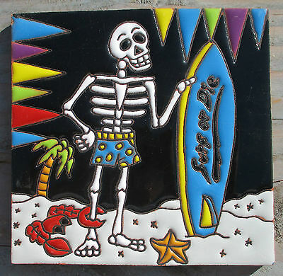 """Talavera Mexican tile Day of the Dead hi relief 6"""" Blue surfboard sand waves"""