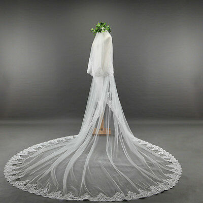 Beautiful Bridal Wedding lace Veil Cathedral long 2Tier Comb 3.8M ivory/white