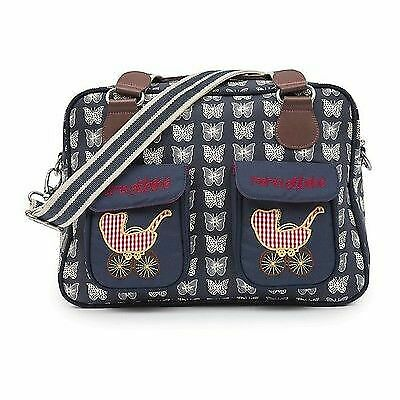 Pink Lining Baby Changing Bag Mama et Bebe Messenger Cream Butterflies on Navy