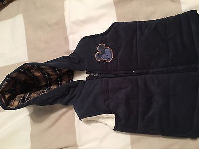 Disney Mickey Mouse Baby Boys Padded & Lined Gilet 6-9 months Bodywarmer
