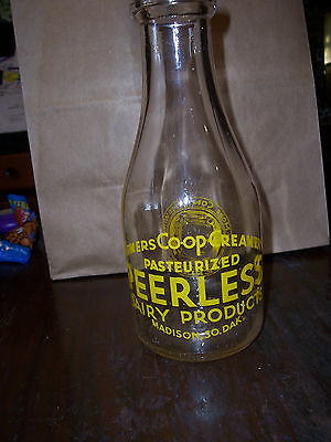 One Quart Glass Milk Bottle Peerless Dairy Products, Madison, SD