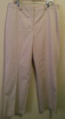 Talbots Womens Pinstripe Casual Career Beige Pants Stretch Size 16 Cotton Blend
